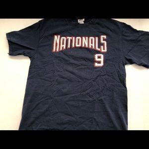Washington Nationals NAVY Nats Tee #9 Soft L 2-Sid